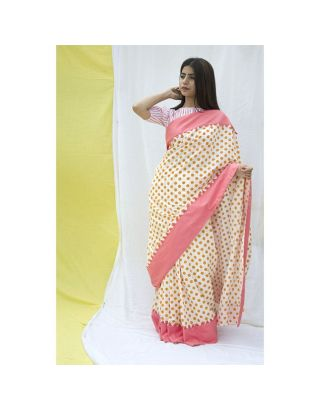 Peach Block Printed Polka Saree
