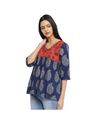 Indigo and Red Flare Top