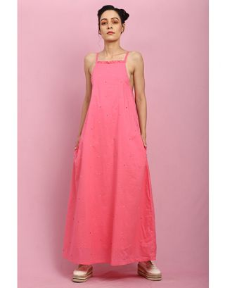 Pink Light Frill Maxi Dress