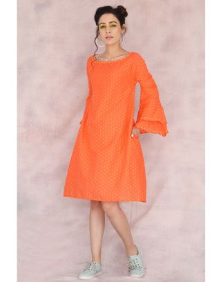 Orange Frill Sleeve Dress