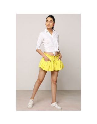 Ochre Yellow Button Down Shorts