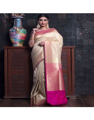 Beige And Pink Banarasi Zari Saree