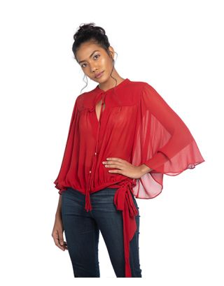 Red Georgette Drape Top