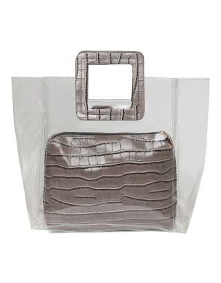Grey PVC and PU Hand Bag