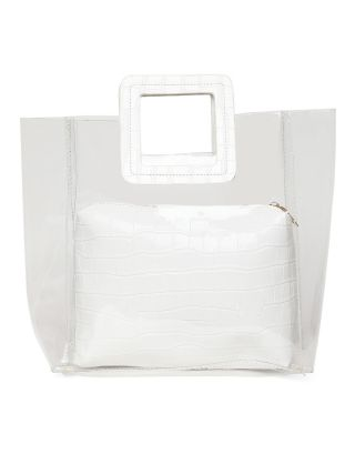 White PVC and PU Hand Bag