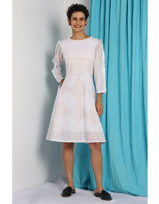 White Side Pleated Dress