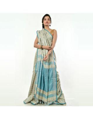 Grey Khadi Blue Checkered Saree