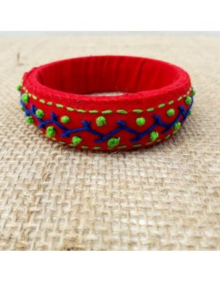 Red Hand Embroiderd Bangle