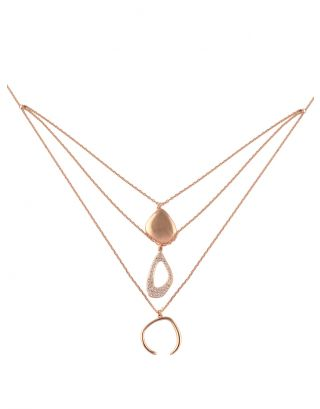 3 Layered Rose Gold Necklace
