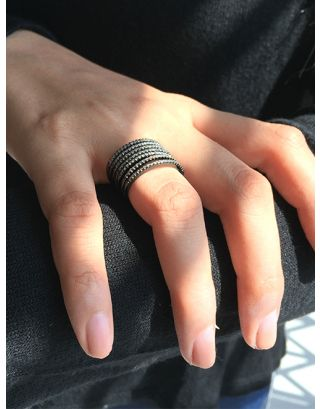 Black Zirconia Multi Row Ring
