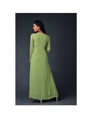 Green chinnon chiffon gown