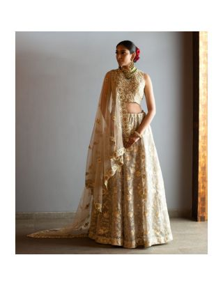 Golden Hand Embroidered  Lehenga Set