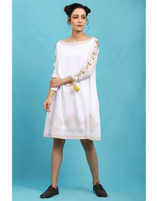 White Tie-Up Sleeves Dress