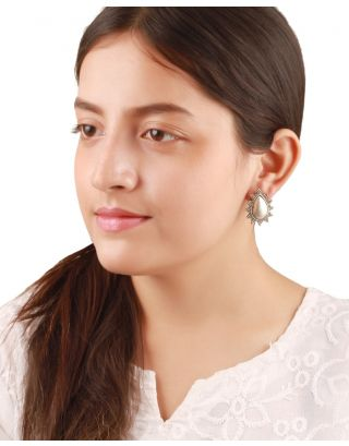 Oval Shaped Silver Stud Earrings