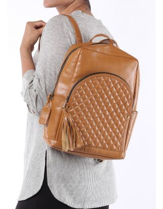 Tan Quilted Backpack