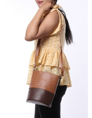 Brown Color Blocked Bucket Bag