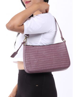 Lilac Textured Shoulder Bag