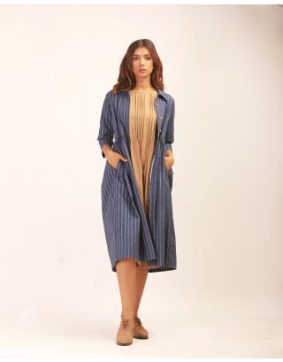 Beige Dress With Blue Overgarment