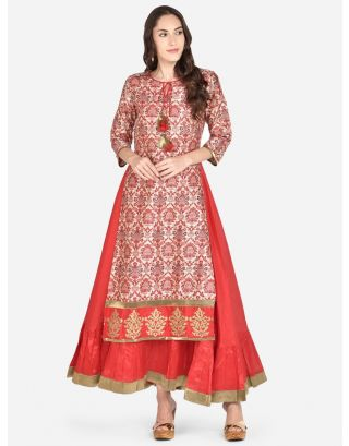 Red Printed Raw Silk Woven Dress