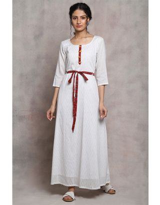 White Front Tie Up Maxi Dress