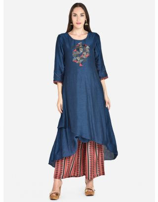Blue Solid Woven Kurti