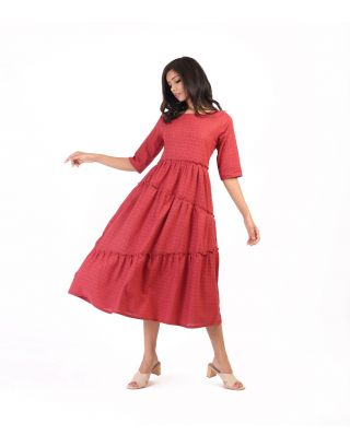 Dull Red Checkered Tiered Dress