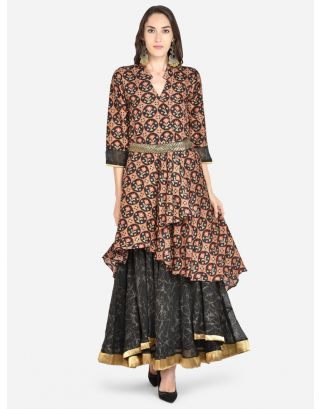Black Printed Woven Ethnic Dress
