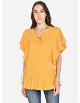 Yellow bubble Georgette top