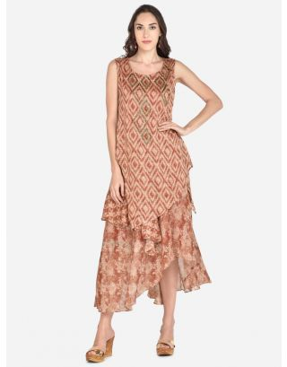 Orange Rust And Beige Printed Woven Ethnic Dress