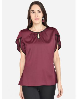 Wine Imported satin crepe top