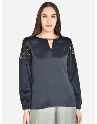 Blue Imported satin crepe solid woven top