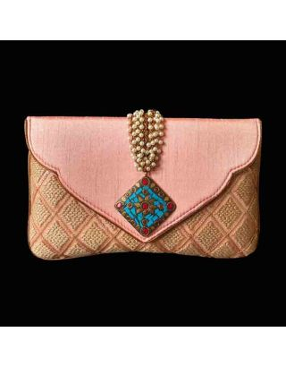 Designer Clutch with Antique Brooch