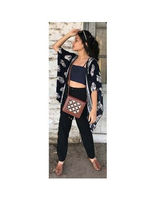 Brown Criss Cross Sling Bag