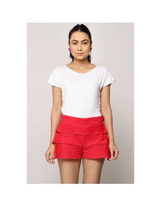 Red Frill Shorts