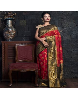 Vermilion Red With Black Zari And Pallu
