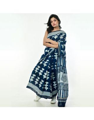 Navy Blue Chanderi Silk Saree