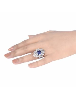 Blue Diamond Cluster Ring
