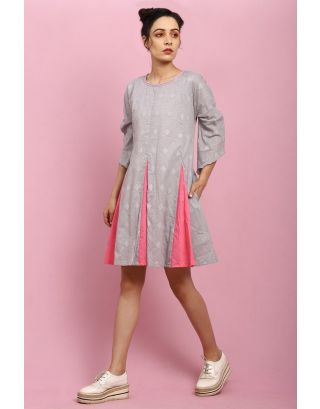 Grey and Pink A-Line Dress