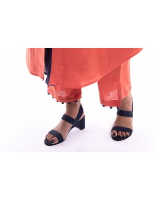 Orange Potli SIde Slit Trouser