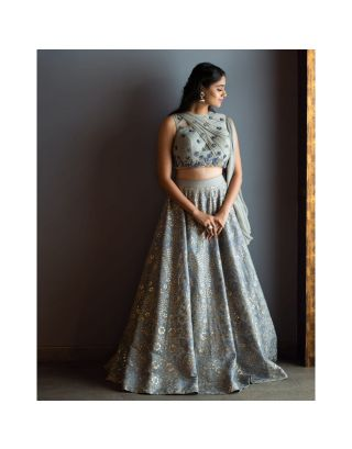 Grey Hand Embroidered  Lehenga Set