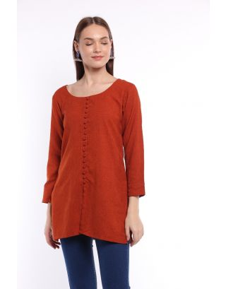 Red Front Open Buttoned Top