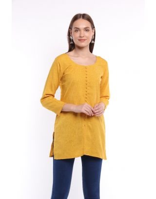 Yellow Front Open Buttoned Top