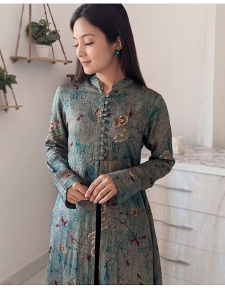 Green Foil Printed Front Open Long Top