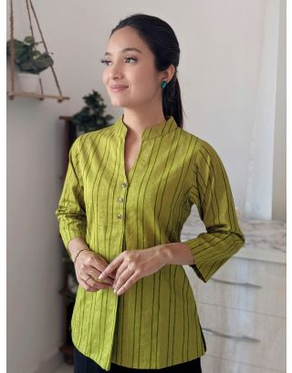 Green Front Pleat Striped Top