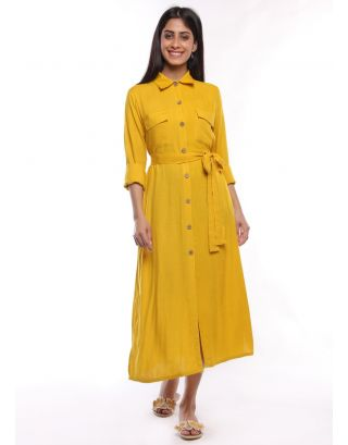 Yellow Solid Shirt Dress with Detachable Belt