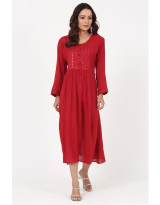 Red Mirror Thread Embroidered Gathered Yoke Dress