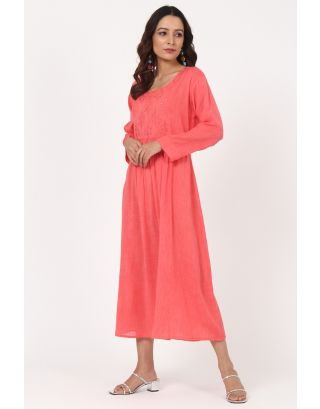 Pink & Cyan Floral Thread Embroidered Gathered Dress