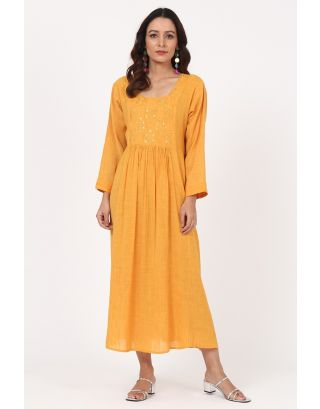 Yellow Floral Thread Embroidered Gathered Dress