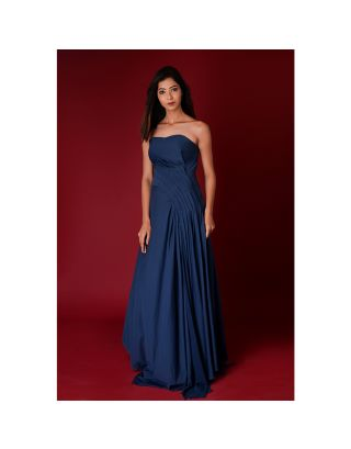 Blue Lycra Tube Gown with Pleated Detailing
