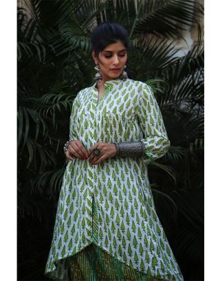 Green and White Kurta Harem Dhoti Set